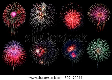 Variety of colorful fireworks on black background
