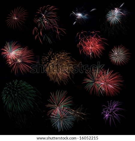 Variety of colorful fireworks on dark background, cut and paste for your own fireworks display