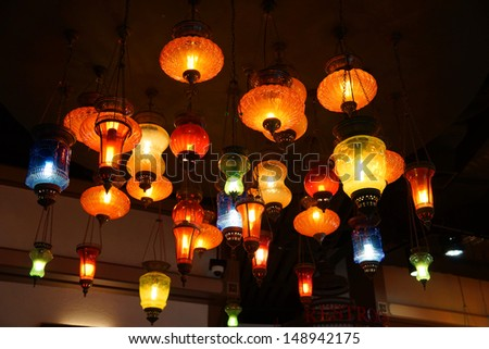 Variety of colorful lamp on the ceiling