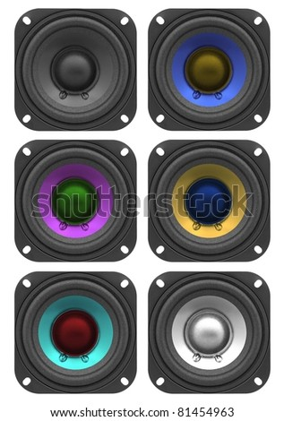 Variety of colorful speakers isolated on white
