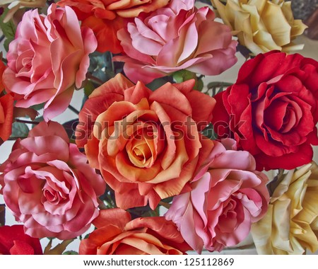 variety of colorful textile roses