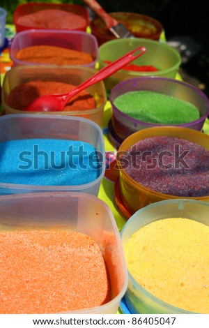 Variety of Colorfull sugars for fruits, mexico - stock photo