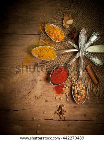 Variety of condiments and spices