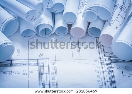 Variety of construction drawings maintenance concept