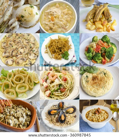 Variety of delicious homemade dishes  - stock photo