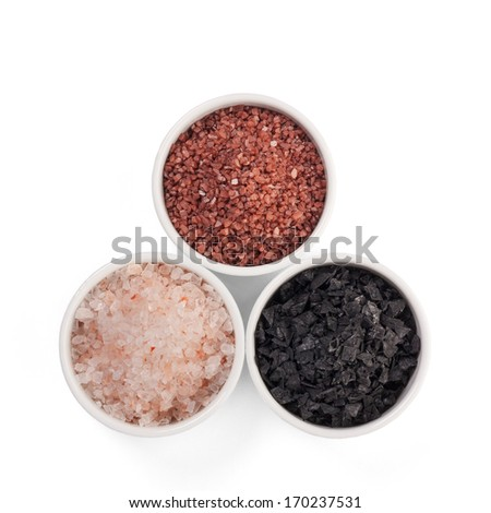 Variety of Different Sea Salts, Charcoal Black Cypriot, Red Hawaiian, Pink Himalayan - stock photo