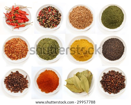 Variety of different spices in bowls for seasoning - stock photo