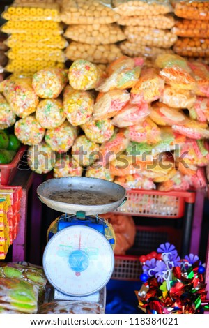 Variety of different sweets at market in Kota Kinabalu Malaysia - stock photo