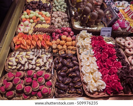 Variety of different sweets in the market