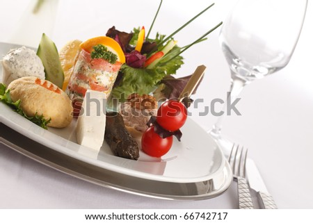 Variety of exotic, fresh and colorful first course