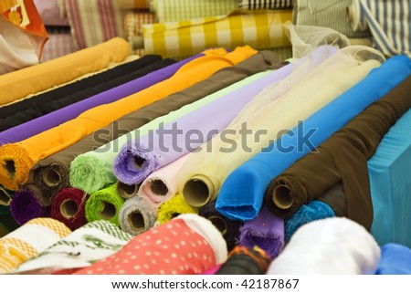 Variety of fabric color samples in the shop
