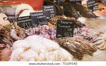 Variety of fish and seafood on cooled market display - stock photo