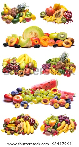 Variety of fresh colorful fruits collage