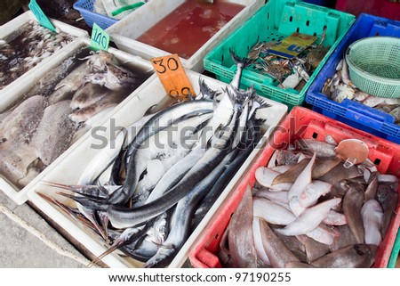 variety of fresh fish seafood in market from Thailand.