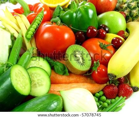 Variety of fresh fruit and vegetables - stock photo