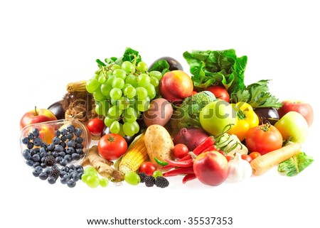Variety of fresh fruits and vegetables - stock photo