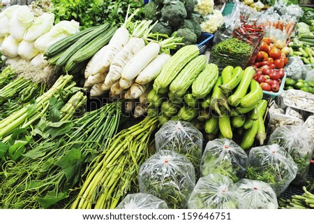 Variety of fresh vegetables display for sale at Thailand open market