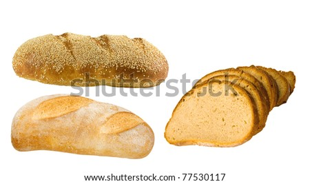 variety of freshly baked breads on a white background - stock photo