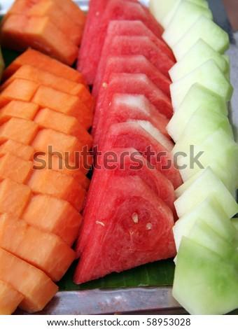 Variety of fruits at buffet dessert - stock photo