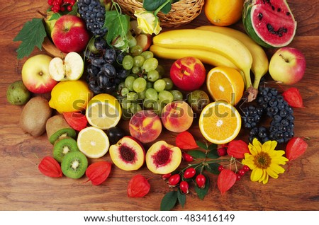 Variety of fruits on the wooden table