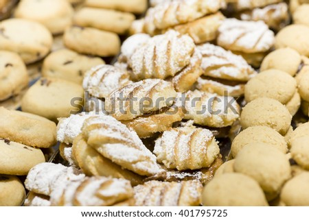 variety of handmade pastry cookies decorated with sugar - stock photo