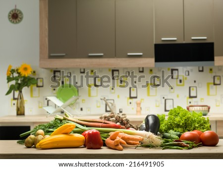 variety of healthy vegetables on a kitchen countertop - stock photo