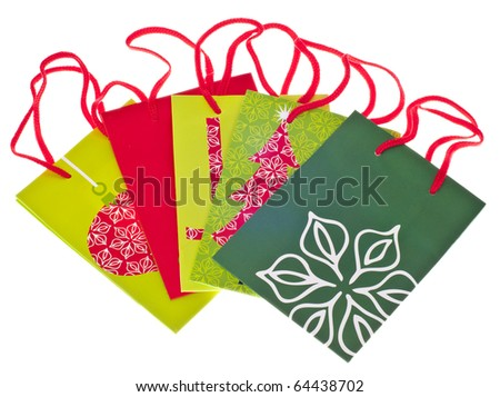 Variety of Holiday Gift Bags Isolated on White with a Clipping Path.