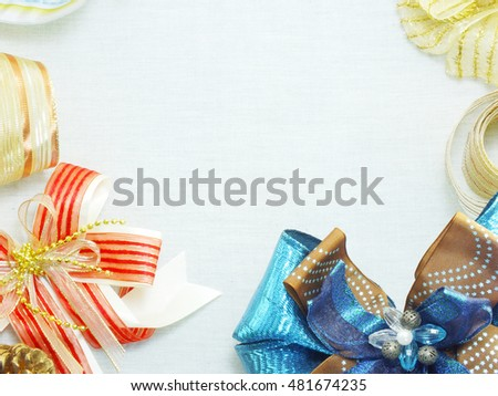 variety of holiday gift bow ribbon border background