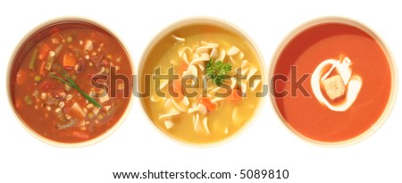 Variety of homemade soups, tomato, chicken noodle and  vegetable beef. - stock photo