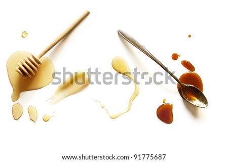 Variety of Honey on a White Background - stock photo