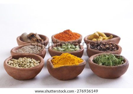 Variety of Indian spices in diyas over white background - stock photo