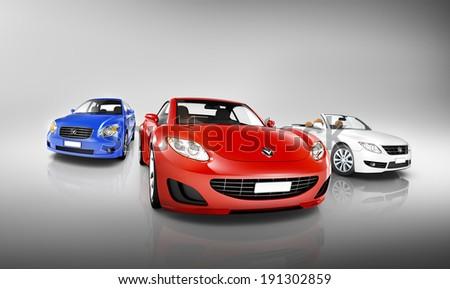 Variety of Luxury 3D Vehicles - stock photo