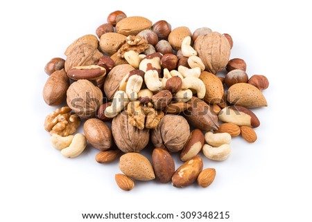 Variety of Mixed Nuts Isolated on White Background - stock photo