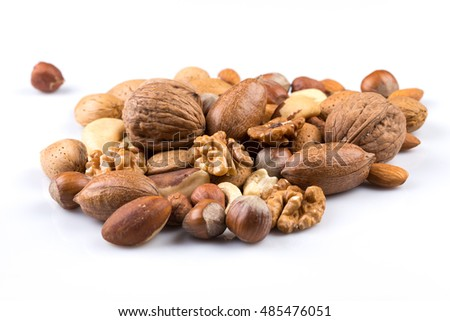 Variety of Mixed Nuts Isolated on White Background