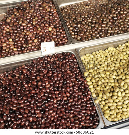 variety of olives at the central market
