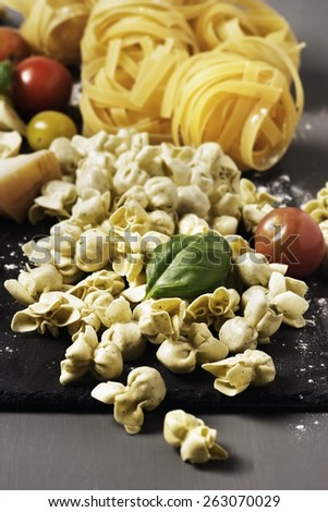Variety of pasta on a slate board