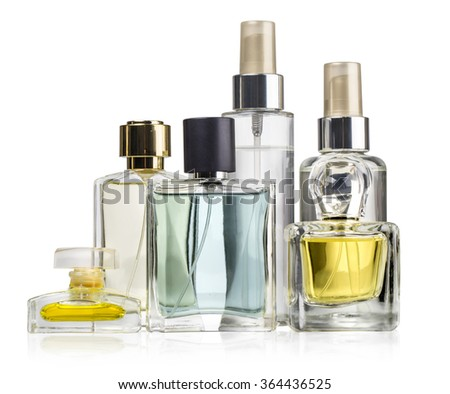 Variety of perfume bottles over white  background with clipping path