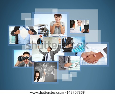 Variety of photos are projecting. Photography internet gallery business - stock photo