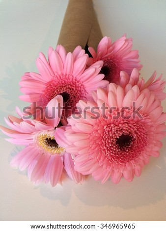 Variety of pink daisies wrapped in brown paper - stock photo