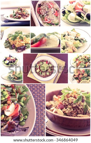 Variety of popular and healthy salads in diet food collage imagery - stock photo