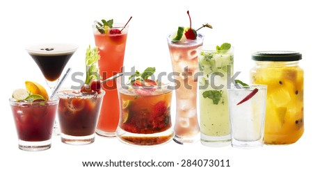 Variety of Punch and cocktail  drink isolated