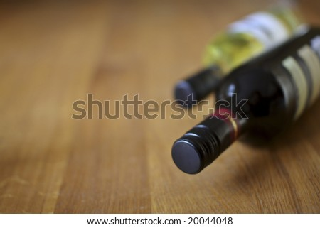variety of red and white wine, with copyspace. Shallow depth of field.