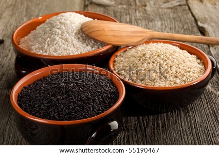 variety of rice on bowl - stock photo
