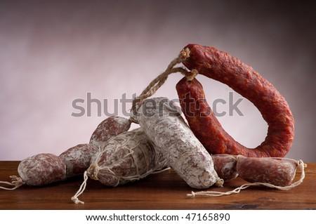 variety of salami - stock photo