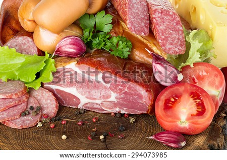 Variety of sausage products. Background.