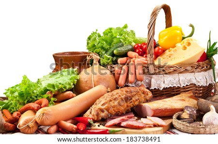 Variety of sausage products. Close-up shot. - stock photo