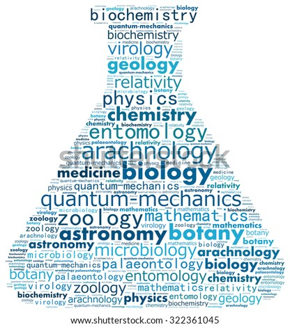 Variety of science fields in text graphics. - stock photo