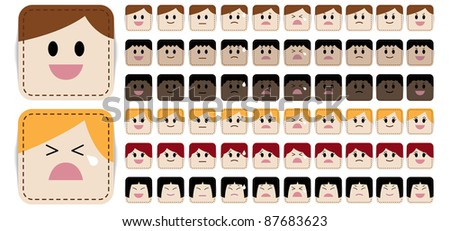 Variety of simple and cute cartoon face in different expressions and races