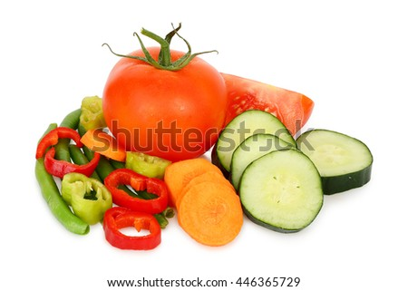 variety of sliced vegetables isolated on white
