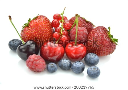 variety of soft fruits, strawberries, raspberries, cherries, blueberries, currants isolated on white - stock photo